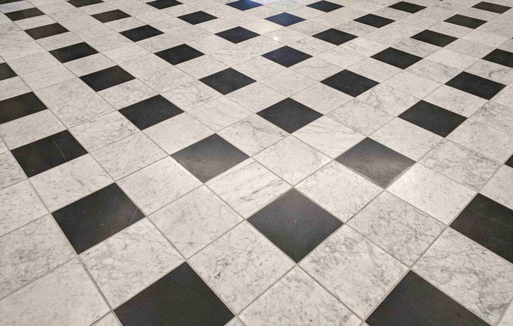black and white marble tiles on floor